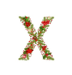 Christmas floral tree letter x vector