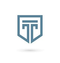 Letter t shield logo icon design template elements vector