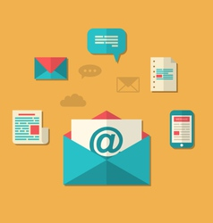 Concept of email marketing - newsletter and vector