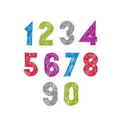 Contemporary handwritten digits numerals vector