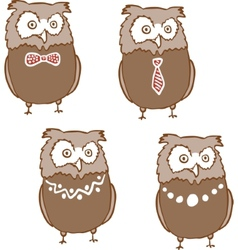 Set of cute surprised owls vector