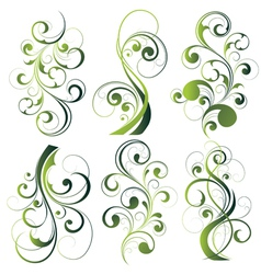 Green floral designs on white vector
