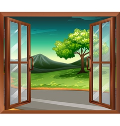A window of a house near the road vector