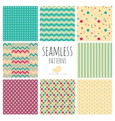 Seamless colorful geometric background set vector