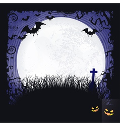 Full moon with bats and cross halloween vector