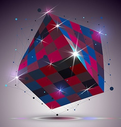 Dimensional twisted shiny cube with lights effect vector