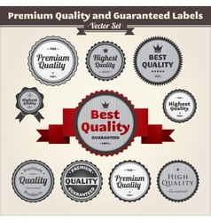 Premium quality and guaranteed labels vector