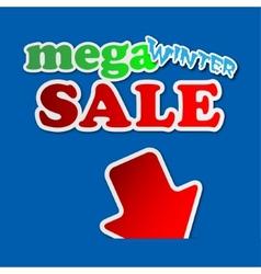 Mega winter sale - information sign vector