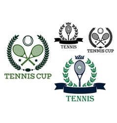 Tennis rackets and balls in sporting labels vector