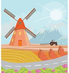 Landscape with windmill and tractor vector