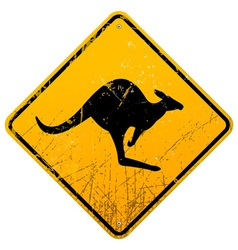 Kangaroo vintage sign vector