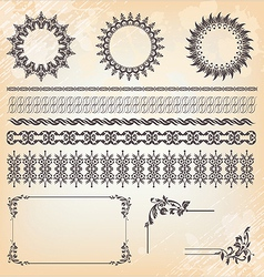 Collection of ornaments and page decoration vector