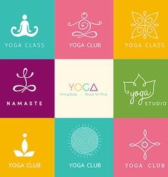 Set of logos for a yoga studio vector