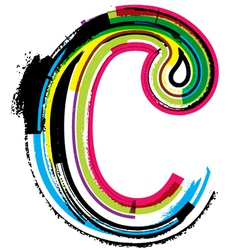 Grunge colorful font letter c vector