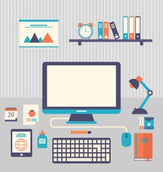 Flat icons of trendy everyday objects office vector