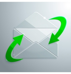 Glass icon of open envelope with arrows vector