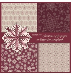 Set of wallpaper christmas gift paper vector