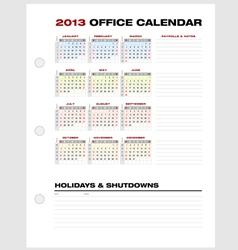 Accounting calendar 2013 vector