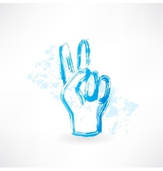 Victory fingers grunge icon vector