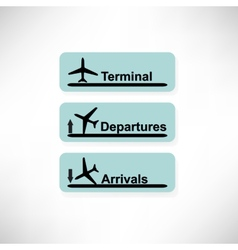 Arrival and departures airport signs isolated over vector