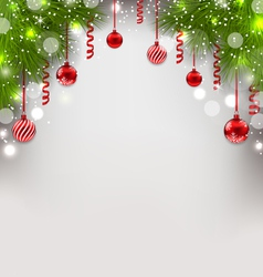 Christmas glowing background with fir branches vector