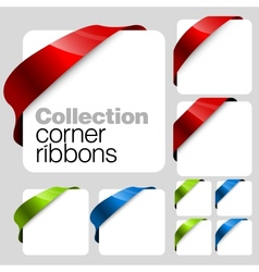 Collection of corner ribbons vector