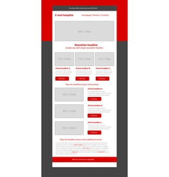Newsletter red template with business style vector
