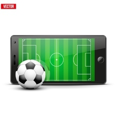 Mobile phone with soccer ball and field on the vector