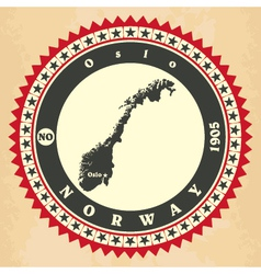 Vintage label-sticker cards of norway vector