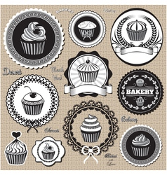 Set of design elemnts icons for baking and bakery vector