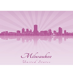 Milwaukee skyline in purple radiant orchid vector