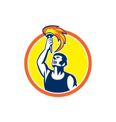 Athlete player raising flaming torch circle retro vector