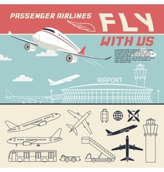 Airline and airport with icons vector