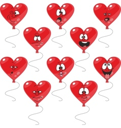 Emotion hearts balloon set vector