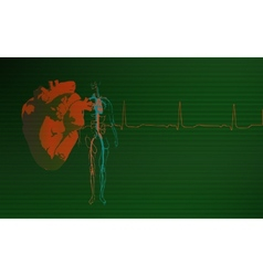 Cardiology background green vector