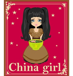 Sweet china girl enjoy soup vector