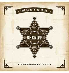 Vintage western sheriff badge vector