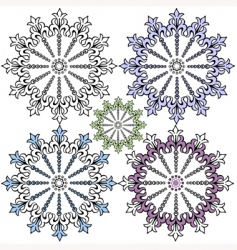 Vintage decorative snowflakes for design vector