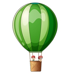 An air balloon flying with two kids vector