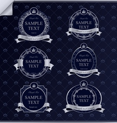 Set of vintage frame labels with silver vector
