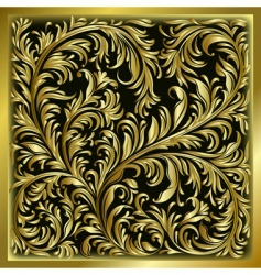 Gold floral ornament vector