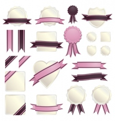 Pink ribbons and seals vector