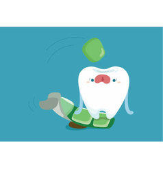 Tooth jumping to eat a chewing gum vector
