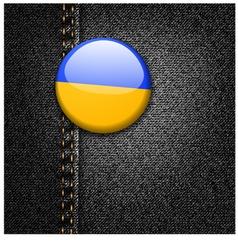 Ukraine flag on black denim vector