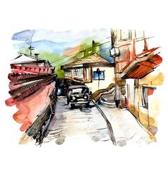 Original watercolor painting on paper vector