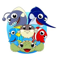 Cute sea animal set vector