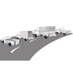 Set of pickup and van on the road vector