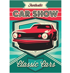 Vintage poster for the exhibition of cars vector