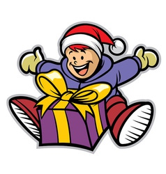 Happy kid with a christmas gift vector