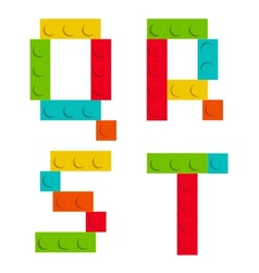 Alphabet set made of toy construction brick vector